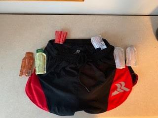 Running shorts pocket setup for marathon option #1